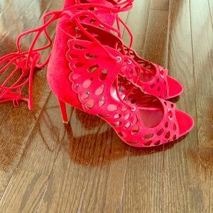 Zara red lace up heel